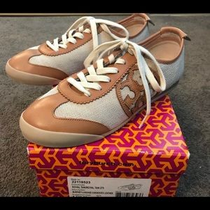 •MAKE OFFER Tory Burch royal tan Canvas sneakers